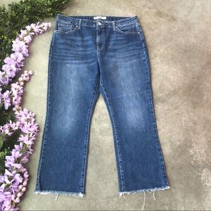 TopShop Crop Flare Leg Raw Hem Jeans Size 34